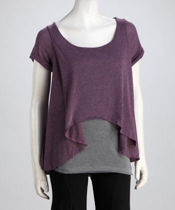 Luna Claire Purple & Gray Vera Hi-Low Layered Top