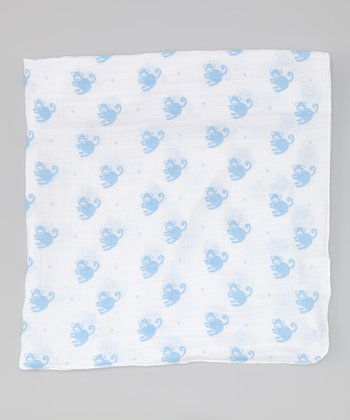 Blue Monkey Swaddle Blanket