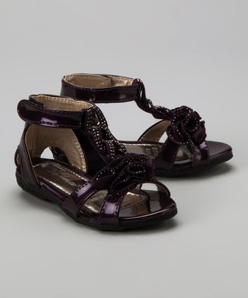 Purple Studded Ruffle Sandal