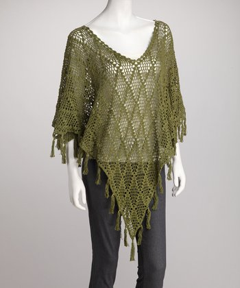 Green Crocheted Poncho