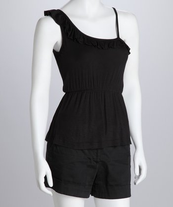 Black Asymmetrical Tank - Women