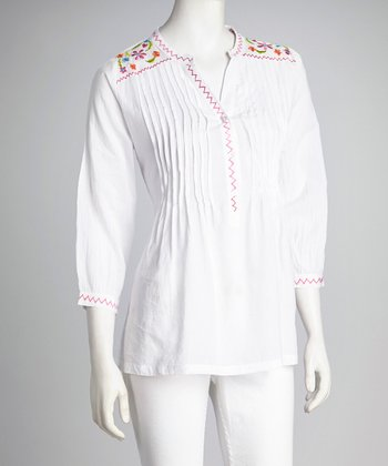 White Embroidered Pleated Tunic - Women