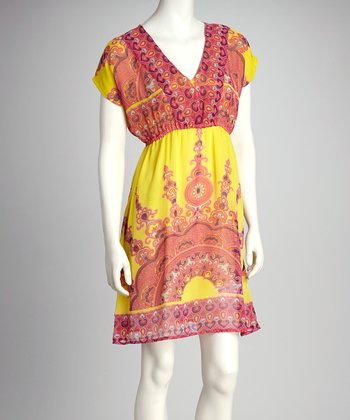 Yellow & Pink Boho Empire-Waist Dress - Women