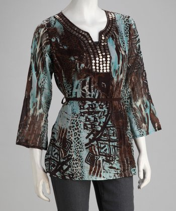 Aqua & Brown Jungle Tunic