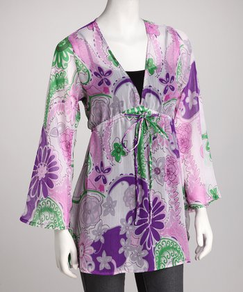 Purple Floral Tie Tunic