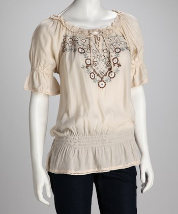 Fawn Embroidered Peasant Top - Women