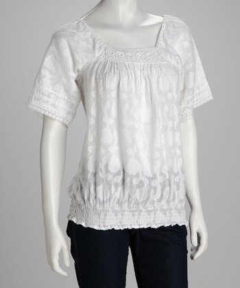 White Smocked Top - Women