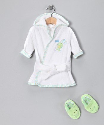 White & Green Frog Bathrobe & Slippers