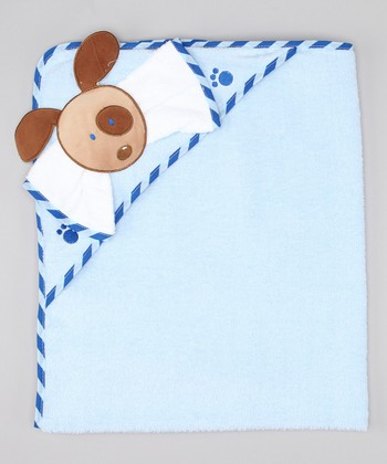 Blue Puppy Hooded Towel & Washcloth