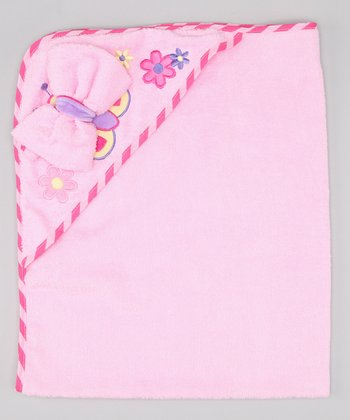 Pink Butterfly Hooded Towel & Washcloth