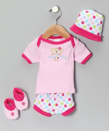 Pink Monkey 'Too Cute' Tee Set