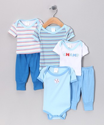 Blue Mix & Match 6-Piece Layette Gift Set