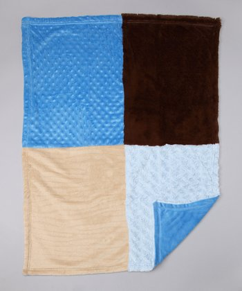 Blue & Brown Stroller Blanket