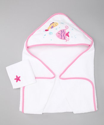 Pink Fish Hooded Towel & Washcloth