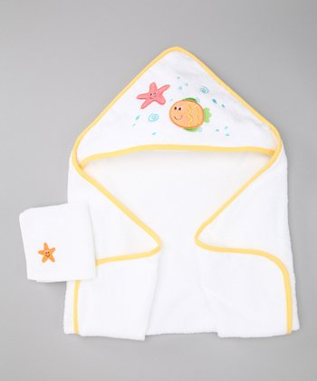 Yellow Fish Hooded Towel & Washcloth