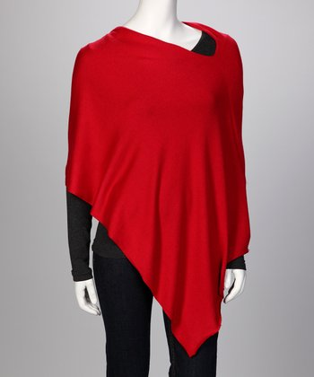 Christmas Red Ever Cashmere-Blend Poncho - Women & Plus