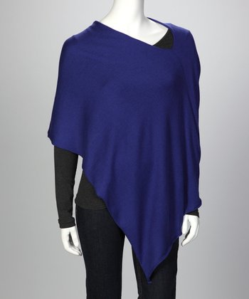 Royal Blue Ever Cashmere-Blend Poncho - Women & Plus