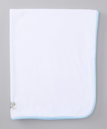 White & Light Blue Organic Stroller Blanket