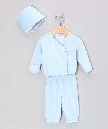 Blue Velour Organic Wrap Top Set - Infant