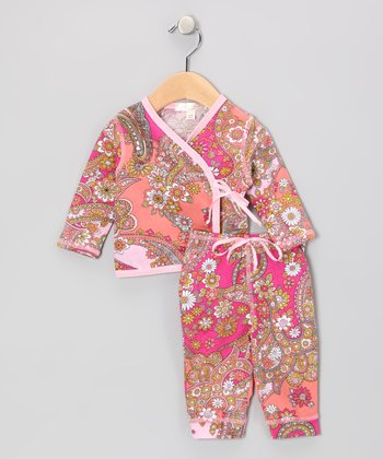 Brown & Light Pink Paisley Organic Wrap Top & Pants - Infant