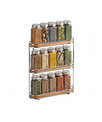 Chrome & Bamboo Spice Rack