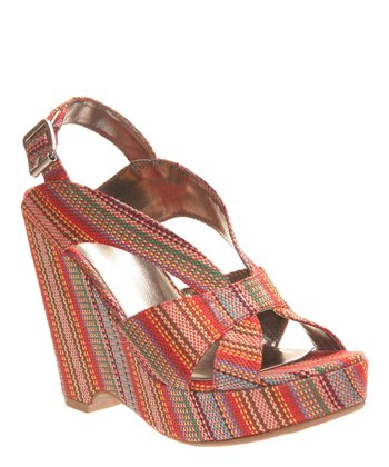 Red Stripe Rella Platform Wedge