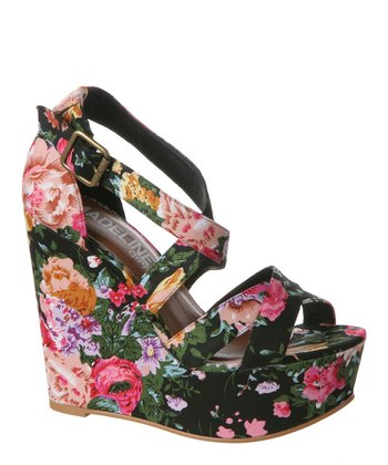 Black Floral Wildflower Platform Wedge