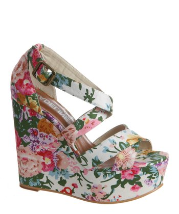 White Floral Wildflower Platform Wedge