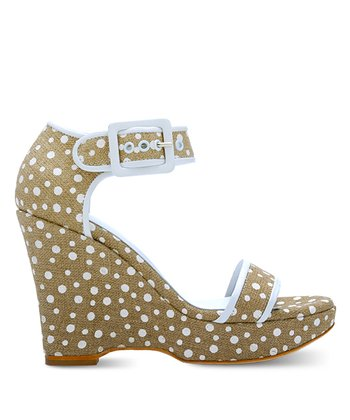 Natural & White Polka Dot Claudette Wedge