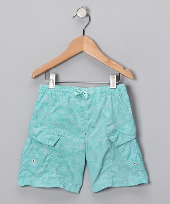 Spearmint Foliage Swim Trunks - Toddler & Boys