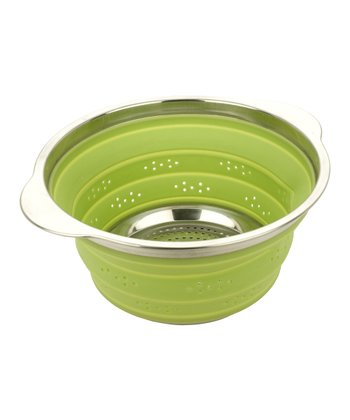 Green Collapsible Stainless Steel Rim Colander
