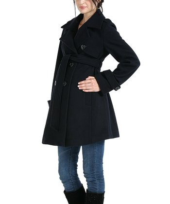 MOMO Black Isabella Wool-Blend Maternity Trench Coat