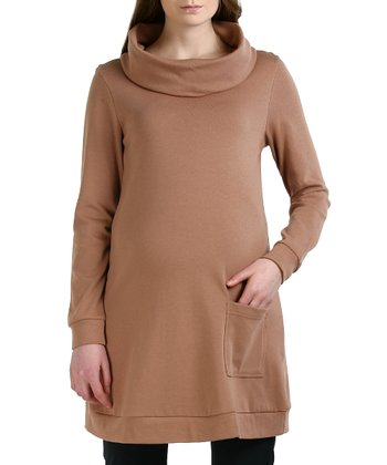 Taupe Bailey Maternity Cowl Neck Tunic