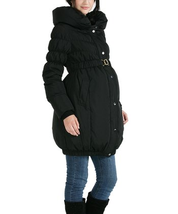 Black Aubrey Down Maternity Puffer Coat