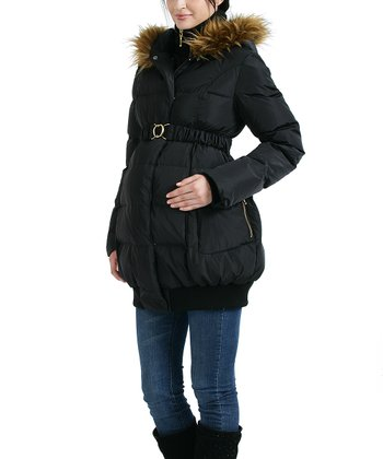 Black Brooke Faux Fur Down Maternity Puffer Coat