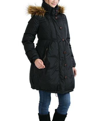 Black Camilla Faux Fur Down Maternity Puffer Coat