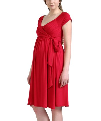 Red Gabby Maternity Wrap Dress