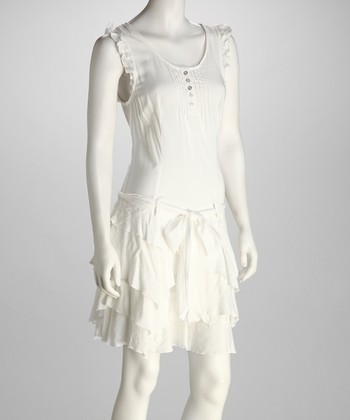 White Ruffle Linen-Blend Dress