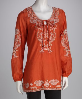 Rust Orange & Tan Embroidered Silk-Blend Peasant Tunic