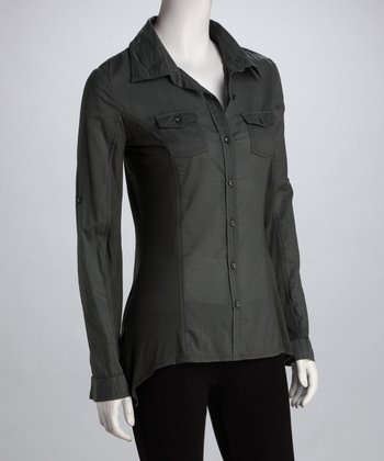 Charcoal Cotton Button-Up