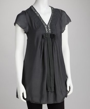 Charcoal Crocheted V-Neck Tunic