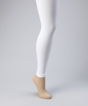 White Footless Tights Set - Women