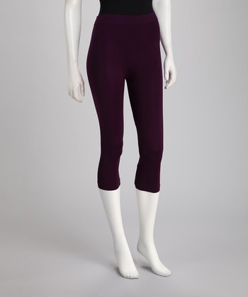 Purple Short Capri Leggings Set