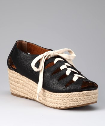 Black Lace-Up Espadrille