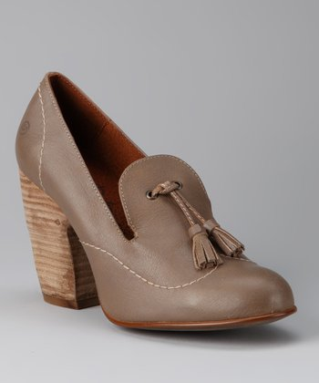 Taupe Tassel Loafer Pump