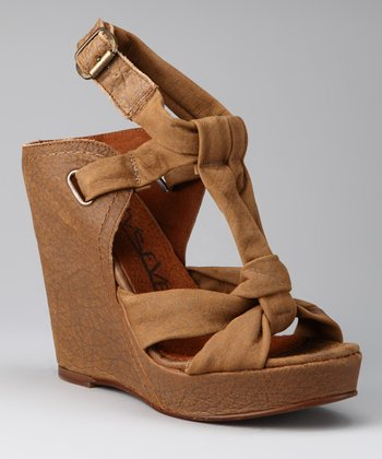 Camel T-Strap Wedge
