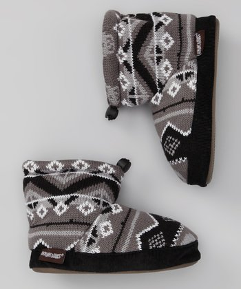 Black Fair Isle Scully Nicolas Knit Slipper Boot - Kids