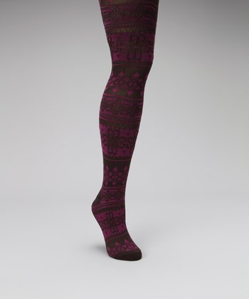 Java & Rich Raspberry Flower Fair Isle Tights - Kids