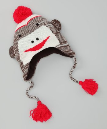 Brown Monkey Earflap Beanie - Kids