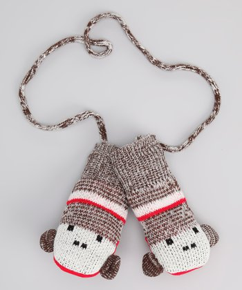 Brown Monkey Mittens - Kids